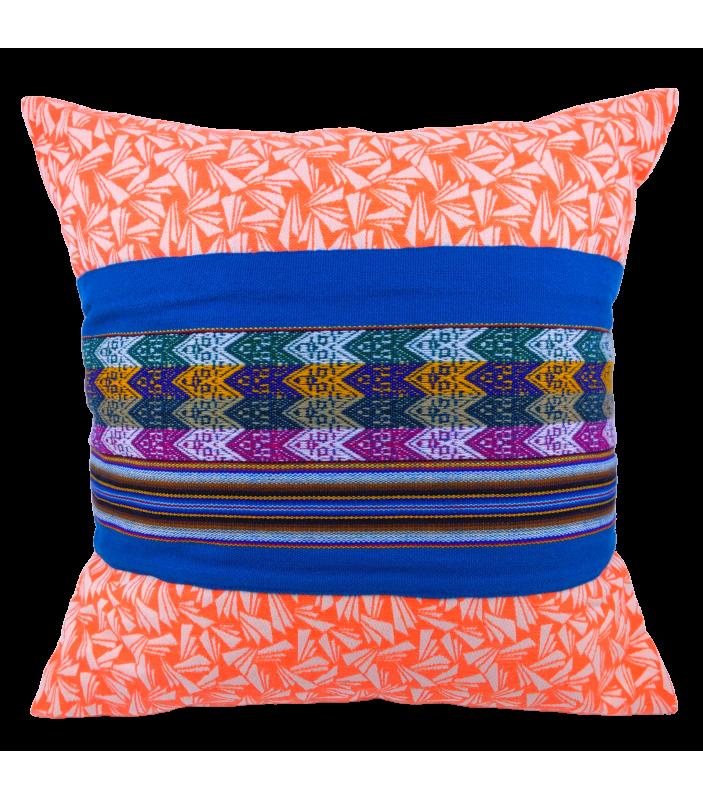 Coussin Ica orange et bleu - Maison Manco - Décoration - MMA1