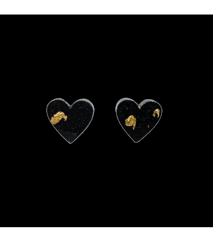 Margot - Cœur noir et or - Nakimi - Bijoux et Accessoires - NA12
