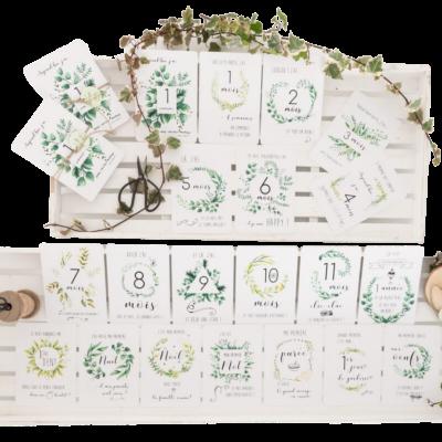 Cartes étapes bébé - 0 à 12 mois collection botanique - Faire Part-à-Part - Mis en avant - FPP14