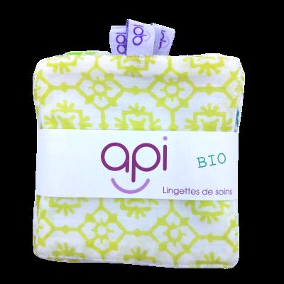 Kit 6 lingettes Bio motifs jaunes - api - Soins du Visage - API2-1